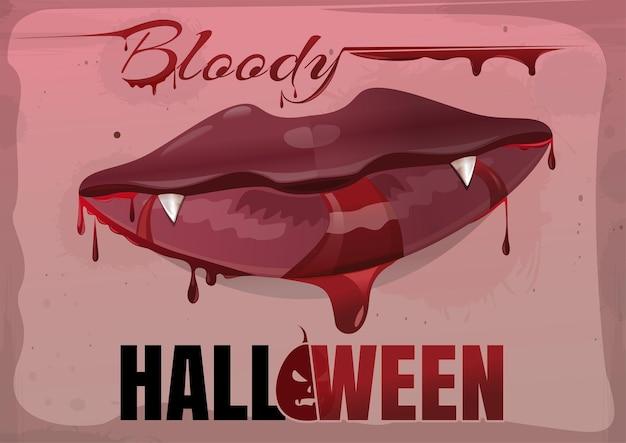 Rote weibliche lippen im blut. blutiges halloween. vektor-vintage-illustration