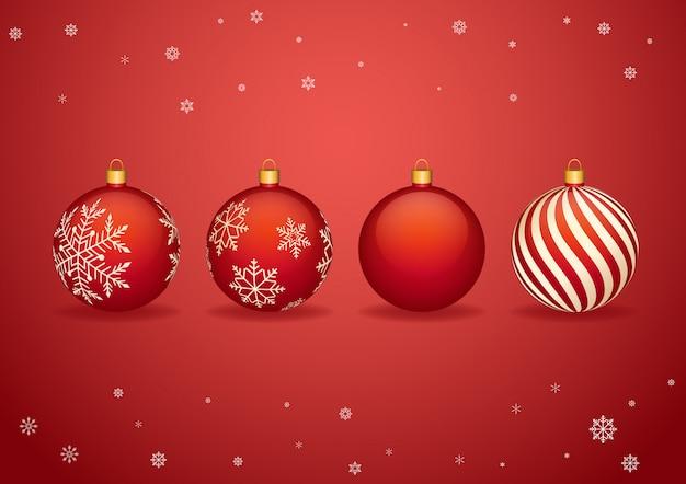 Rote weihnachtsbälle mit schneeflocken, weihnachtsdekoration.