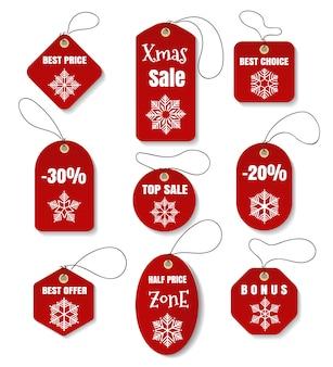 Rote weihnachtsfeiertagsmarken oder -kennsätze