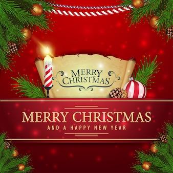 Rote weihnachtskarte mit pergament und weihnachtskerze
