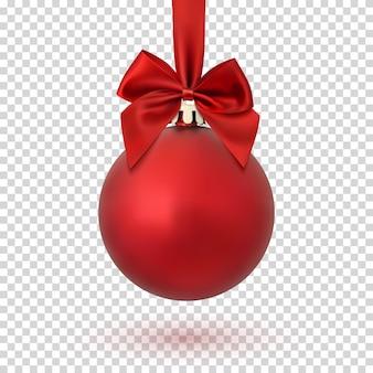 Rote weihnachtskugel mit band und schleife