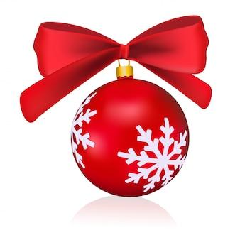 Rote weihnachtskugel mit einem bogen