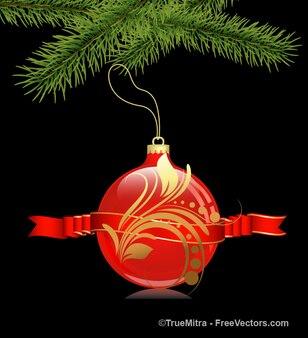 Rote weihnachtskugel mit verzierungen