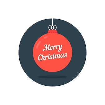 Rote weihnachtskugel-symbol wie frohe weihnachten. konzept der weihnachtsfeier, hängendes spielzeug, tradition, krippe, weihnachten. isoliert auf weißem hintergrund. flacher stil trend moderne logo-design-vektor-illustration