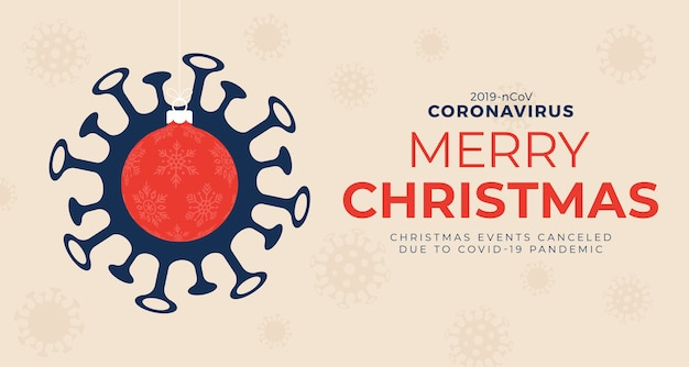 Rote weihnachtskugel und quarantäne coronavirus gefahr. coronavirus covid-19 und weihnachten oder neujahr annulliert konzept.