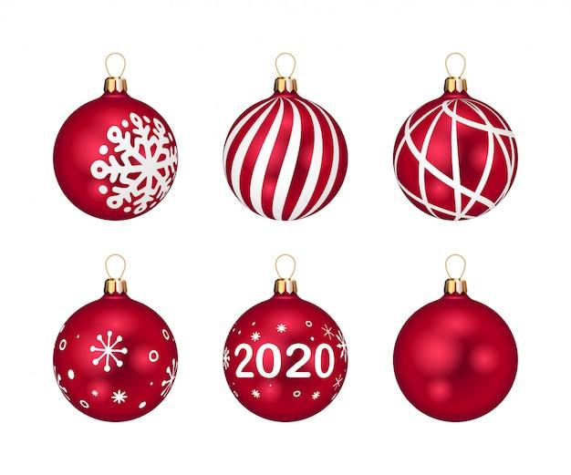 Rote weihnachtskugeln eingestellt