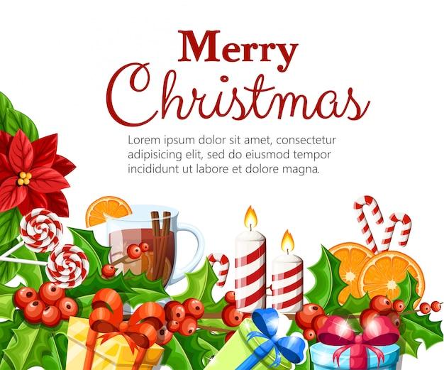 Rote weihnachtssternblume der weihnachtsdekoration und mistel mit grünen blättern lebkuchenorangenscheiben-canela-stickillustration auf weißem hintergrund mit platz für ihren text