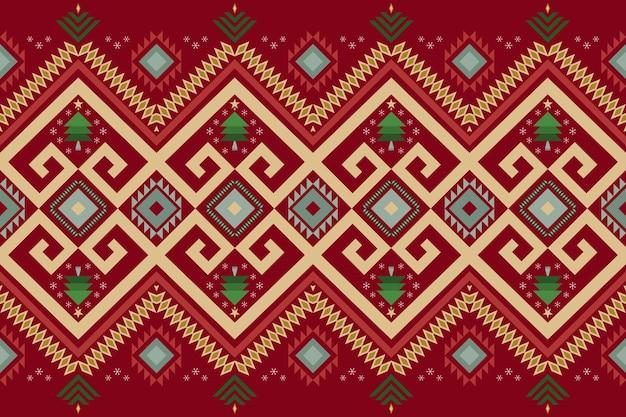 Rote weihnachtsweinlese geometrischer orientalischer ikat nahtloses traditionelles ethnisches musterdesign für hintergrund, teppich, tapetenhintergrund, kleidung, verpackung, batik, gewebe. stickstil. vektor.