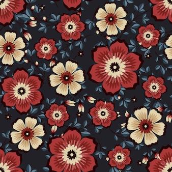 Rote weinleseblumen winden efeuart mit niederlassung und blättern, nahtloses muster