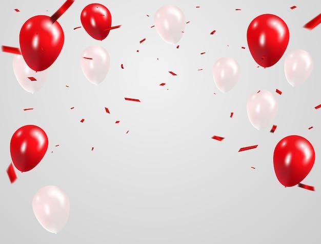 Rote weiße ballone, konfettikonzeptdesign