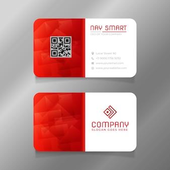Rote weiße visitenkartenschablone mit qr-code