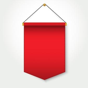 Rote wimpelschablone, die an der wand hängt
