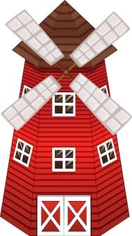 Rote windmühle mit fenstern