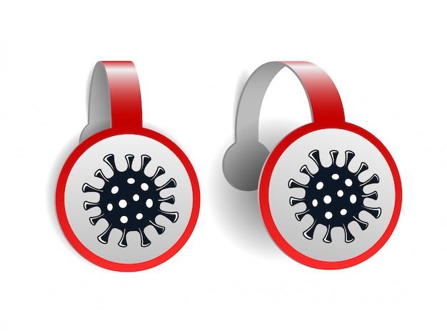 Rote wobbler mit coronavirus-symbol isoliert