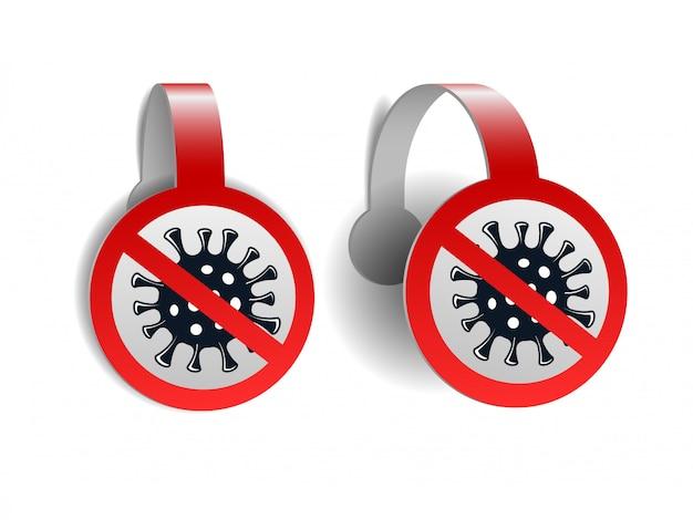 Rote wobbler mit coronavirus-symbol mit rotem verbotszeichen isoliert