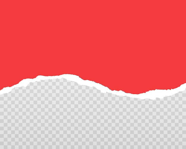 Rote zerrissene papierstreifen realistisch. zerrissenes papier