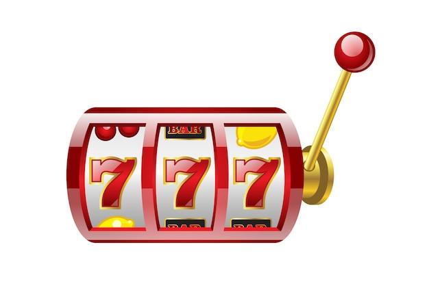 Roter 777-slot - moderner vektor lokalisierte illustration auf weißem hintergrund. casino, glücksspiel, glück, vermögen, großes gewinnkonzept. verwenden sie diese hochwertige clipart für präsentationen, banner, flyer