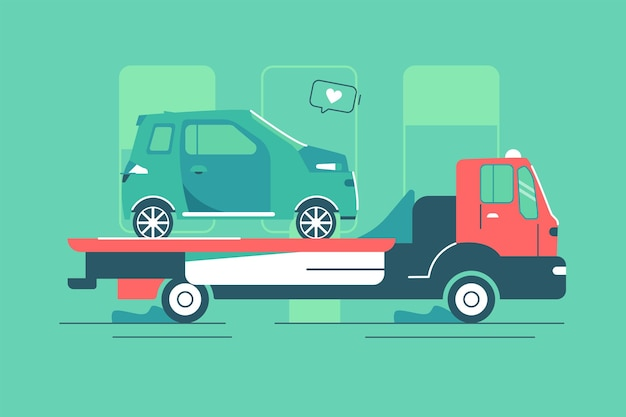 Roter abschleppwagen mit autovektorillustration. city road assistance service evakuator flacher stil. fahrzeug- und transportnothilfekonzept. auf grünem hintergrund isoliert