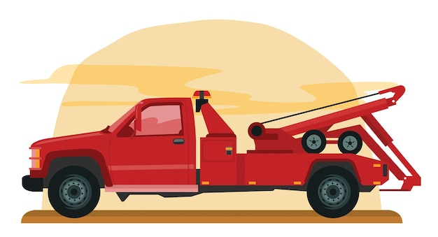 Roter abschleppwagen
