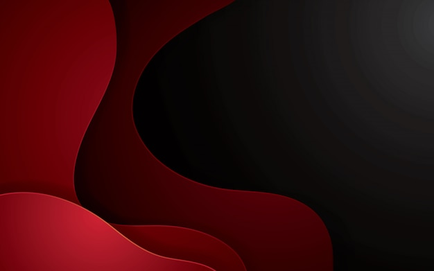 Roter abstrakter papercut geometrischer hintergrund. dekorationspapierschnitt mit gewellten schichten.