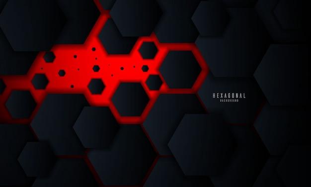 Roter abstrakter sechseckiger glühender hintergrund