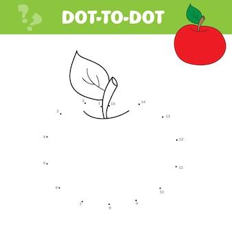 Roter apfel der karikatur. vektor-illustration. mal- und punkt-zu-punkt-lernspiel für kinder