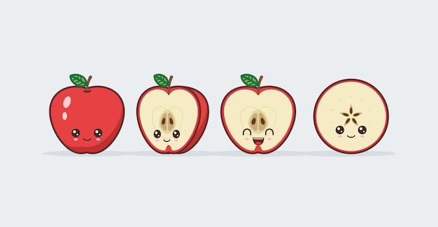 Roter apfel stellte gezeichnete niedliche kawaii nahrungsmittelgesichter ein