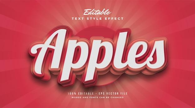 Roter apfel-text im vintage-stil mit geprägtem und strukturiertem effekt