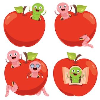 Roter apfel und nette wurmkarikatur