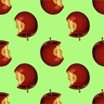 Roter apfel während, kern, hälfte. nahtloser muster hintergrund.