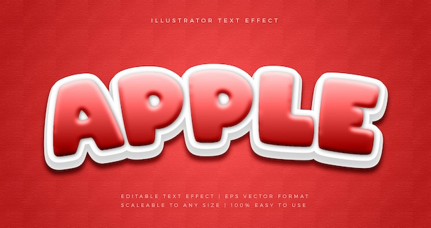 Roter apple playful text style schrift-effekt