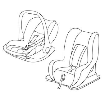 Roter babyautositz eingestellter vektor