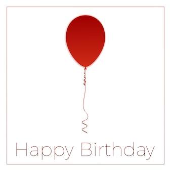 Roter ballon mit geschenkbox happy birthday grußkarte. papierkunst. vektorillustration mit isolierten gestaltungselementen