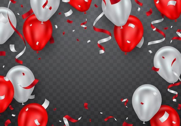 Roter ballon- und konfettirahmen