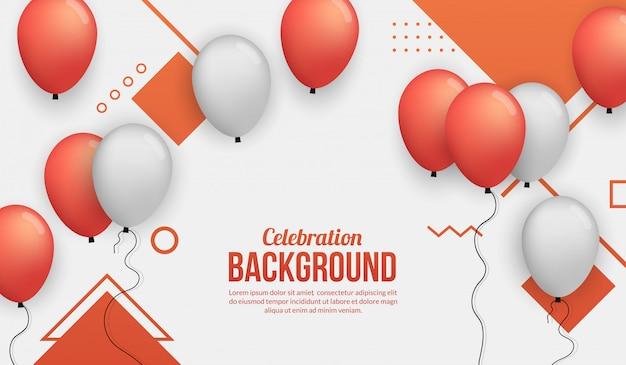 Roter ballonfeierhintergrund für birhtday party, staffelung, feierereignis und feiertag