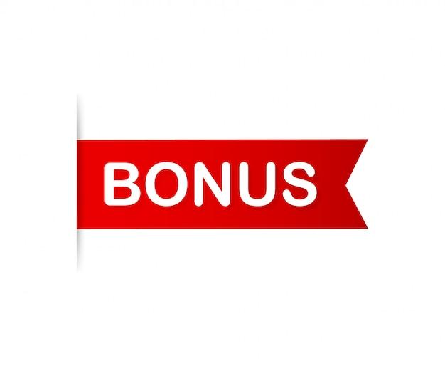 Roter banner bonus. ribbon bonus. illustration.