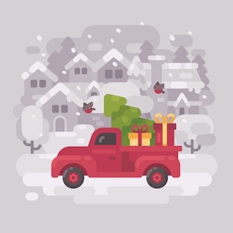 Roter bauernhof-lkw mit einem weihnachtsbaum