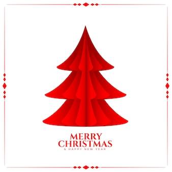 Roter baum der frohen weihnachten im papierorigami-stil