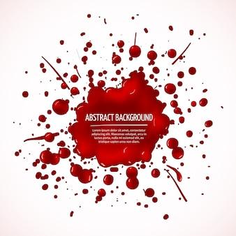 Roter blutspritzer abstrakter hintergrund. tropfenflüssigkeit, fleckentinte, fleck und fleck, vektorillustration