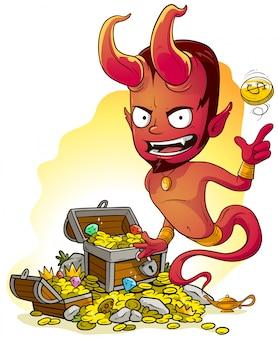 Roter böser dschinn der karikatur mit lampe und schatzkiste
