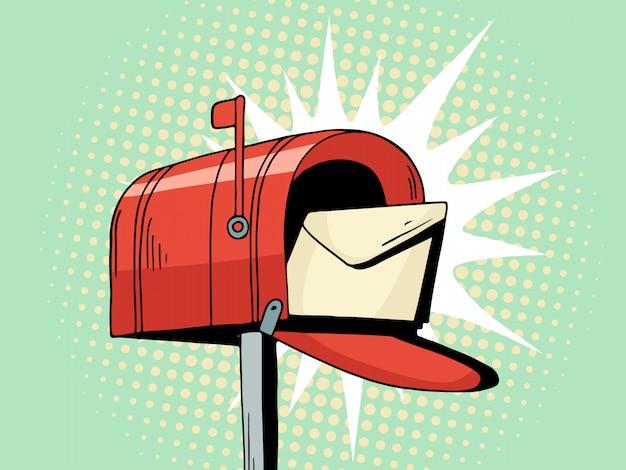 Roter briefkasten der karikaturpop-art senden brief