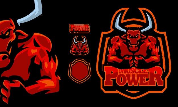 Roter büffel-logo-maskottchen-zeichensatz