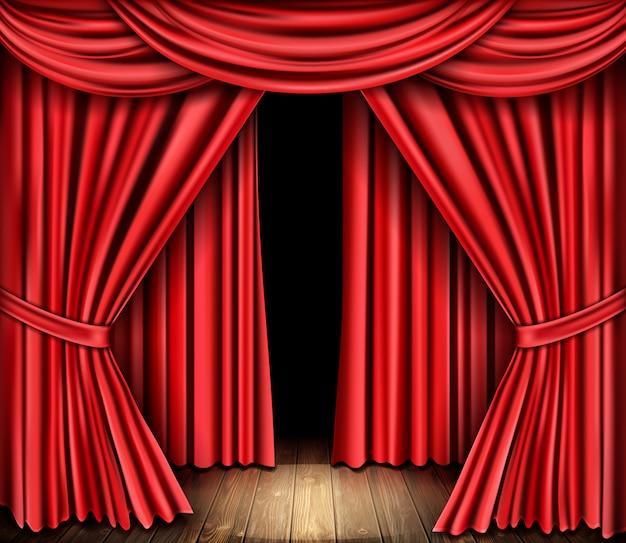 Roter bühnenvorhang für theater, opernszene drapieren