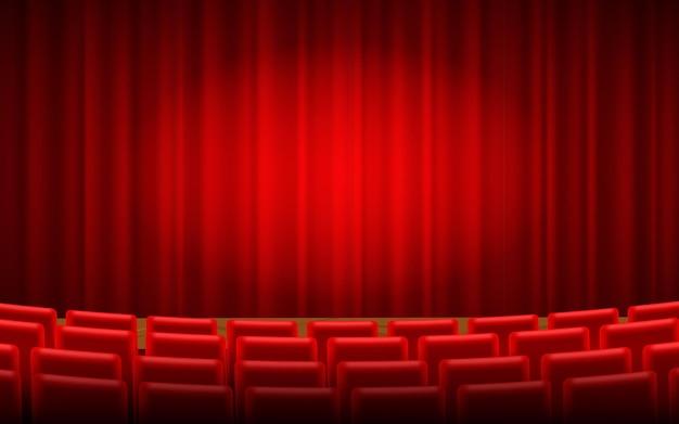 Roter bühnenvorhang für theater, opernszenenvorhang