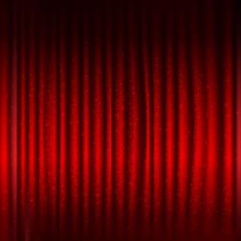 Roter bühnenvorhang mit schwarzem rand und glitzer mit farbverlaufsnetz, illustration