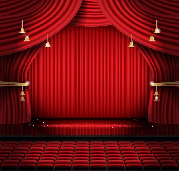Roter bühnenvorhang mit sitzplätzen und textfreiraum. vektor-illustration. theater-, opern- oder kinoszene. licht auf einem boden.