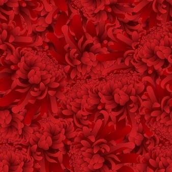 Roter chrysanthemen-blumen-nahtloser hintergrund