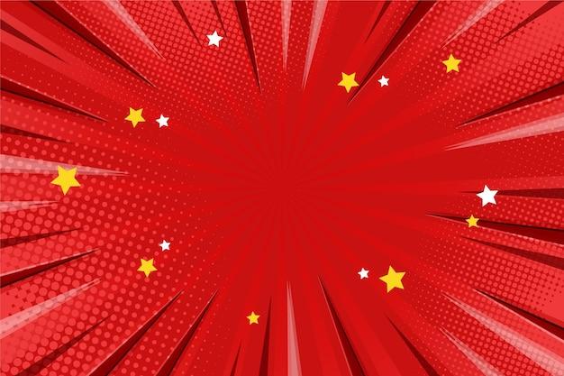Roter comic-hintergrund des flachen entwurfs