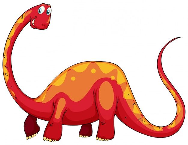 Roter dinosaurier mit langem hals