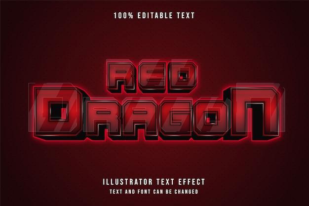 Roter drache, 3d bearbeitbarer texteffekt roter abstufungsneonart-effekt